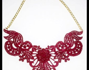 Maroon / Burgundy / Bordeaux Lace Bib Statement Necklace