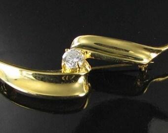 Vintage swirled ribbon bar pin with diamante RHINESTONE broach bride jewelry wedding