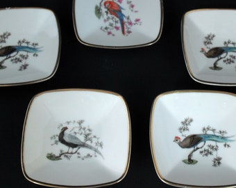 Antique Set -Five Selb Plossberg Germany Rosenthal Vintage Trinket Dishes circa 1920 Pheasants - Parrot with Gold Trim