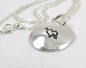"""Fine Silver Disc Necklace with Sterling Silver Chain - 5/8"""" Domed Silver Disc Pendant Necklace."""
