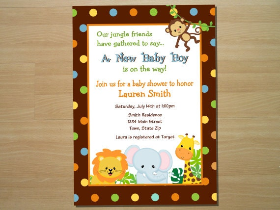 Jungle Themed Baby Shower Invites with awesome invitations design