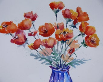 Red Poppies in Colbolt Blue Vase Signed Watercolor Print by Sally Tia Crisp