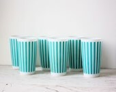 Vintage Milk Glass Tumblers - Set of 6 Hazel Atlas Teal Stripes