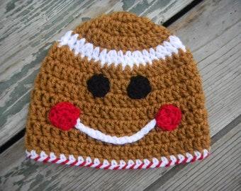 Gingerbread Man Crochet Hat Pattern -- Pattern includes Sizes Newborn-Adult