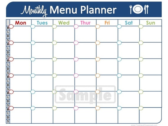 Monthly Meal Plan Template Images Template Design Ideas