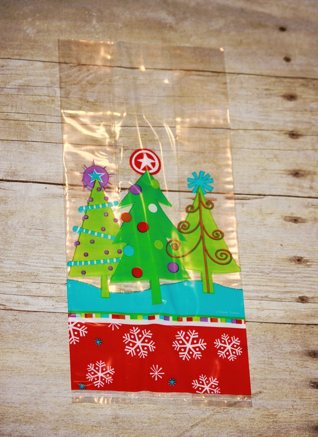 Christmas tree cellophane bag cello treat bags by