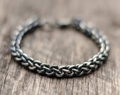 Men's Bracelet Jens Pinds Linkage Chainmaille Oxidized Woven Handcrafted Sterling Silver: Jewelry for Men Yoga Jewelry Vegan Jewelry Man's