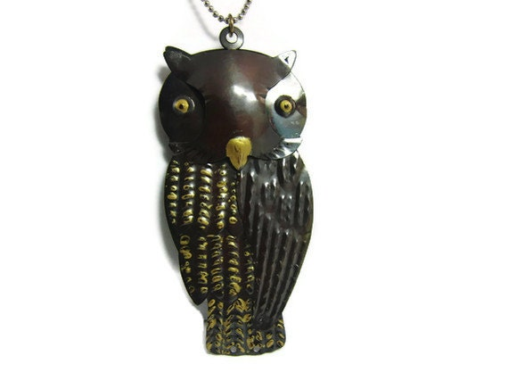 Owl Necklace, Rustic Woodland Necklace, Vintage Jewelry