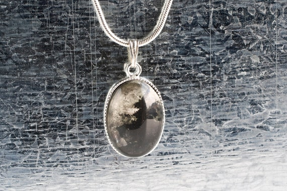 Glass Necklace Pendant, Hand silvered Glass Necklace, Winter Fashion Jewelry