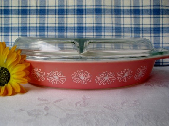 Pink Pyrex Daisy Divided Casserole Covered 1950's