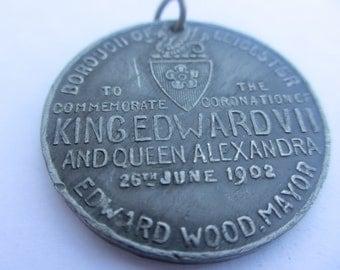 Vintage 1902 Medallion Coronation Edward VII and Queen Alexandria Borough of Leicester