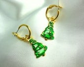 Vintage Hoop Earrings Christmas Trees