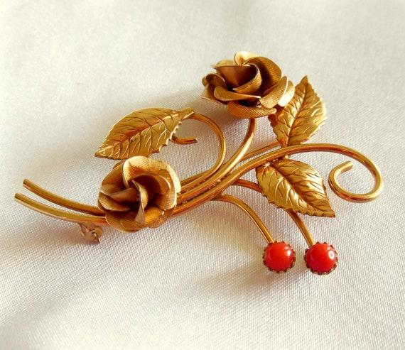 Vintage Brooch Gold Filled Winard Rose
