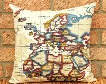 World Map Throw Pillow Cover, 16 x 16 pillow cover, Atlas Pillow Cover, atlas map, purple
