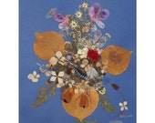 Collage Floral Art Luli 018-pressed flower art-collage art-dried leaves-floral with feathers, pressed leaves