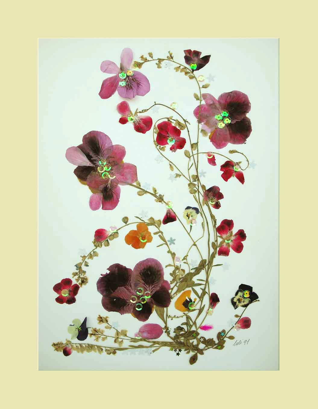 Collage Floral Art Luli 082 Pressed flower by TheLittleMagicHouse
