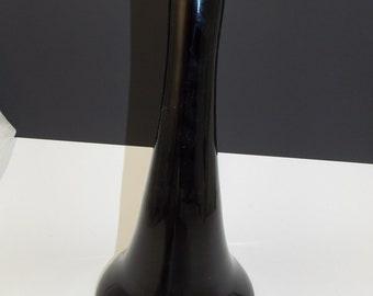 Tall Vintage Black Glass Vase