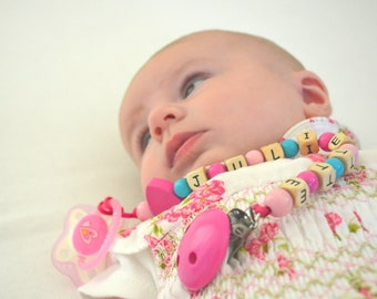 Pacifier clip, personalized name pacifier clip, beaded pacifier clip, pacifier holder, custom pacifier clip, girl pacifier clip