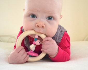 wooden teether, wood toy, baby rattle, rattle teether, rattle, baby gift, baby girl, pink toy
