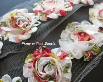 VINTAGE ROSE Shabby Flowers- 1/2 Yard or 1 Yard- Shabby Chiffon Trim- Wholesale Shabby Flowers- Shabby Rose Trim
