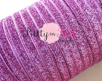 """Pink Glitter Elastic 3/8""""- Elastic By the Yard- Glitter Fold Over Elastic- Foe- Foldover Elastic- DIY Headbands- Hair Ties- Wholesale"""