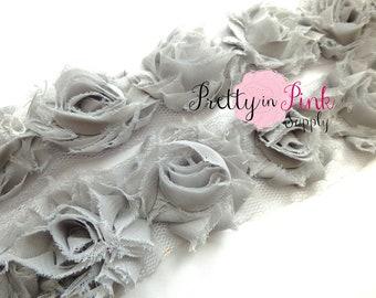 PETITE Grey Shabby Rose Trim Choose 1/2 or 1 yard...Shabby Flower..Shabby Flower Rose Trim...Chiffon Flower...Shabby Trim.
