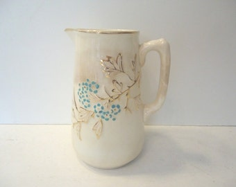 Vintage White Pitcher with Blue Flowers  Tall Creamer