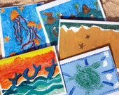 5 Assorted Ocean Inspired, Folded Note Cards with Envelopes - 100% Profits Donated