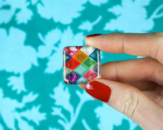 Colourful Quilt - Set of 4 Glass Tile Magnets