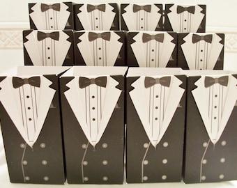 18 Tuxedo groom/graduation party favour boxes - wedding favour boxes - groomsmen favours - groom wedding favours - grad party
