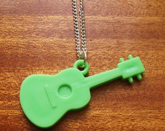 Green Acoustic Guitar Necklace