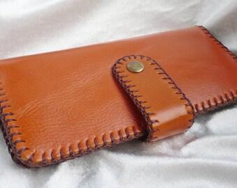 Bi-fold Woman Leather Clutch Wallet, Leather Wallet, Leather Purse Wallet, HanLstiched, Hand-sewn