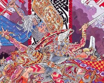 "Fantasy Art Print The Last Battle 16.5"" x 11.69"" Print. Celtic, Irish, Ireland, Gaelic, Military, Warrior, Wizard, Witchcraft, Red, Sword."