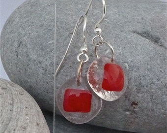 Red square fused glass earrings