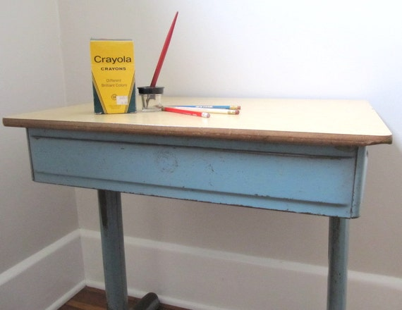 Vintage school desk metal american seating company adult sized