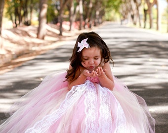 Vintage Dream-Ivory flower girl tutu dress in rosy mauve/pink and ivory with lace accent perfect for Vintage Weddings
