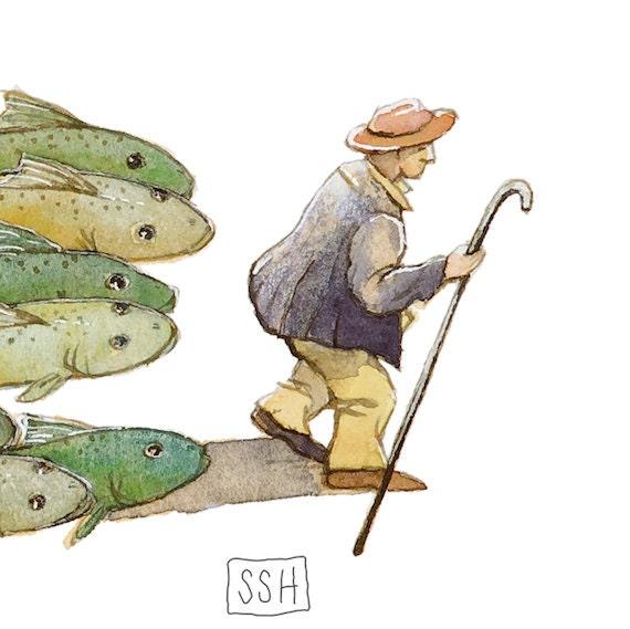 Fish Herder no. 1 - original watercolor painting - fairytale fantasy whimsical surreal art - illustration