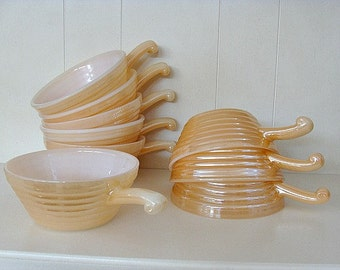 Set of FOUR Fire King Peach Luster Ovenware Bowls