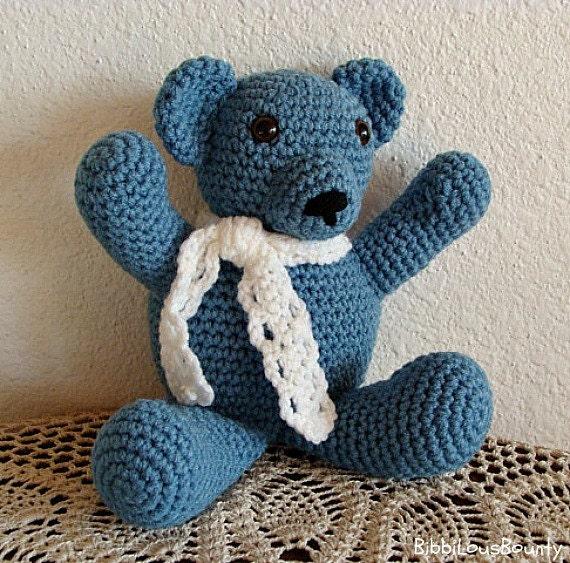 Crochet Teddy Bear Blue