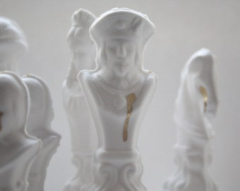 Chess piece - The King from English fine bone china and real gold