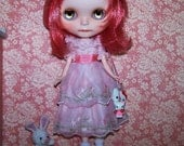 Reserved for Kim.  Custom OOAK Blythe Doll and Pretty Vintage 1950s Pink Organdy Party Dress