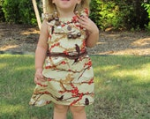 Girls dress- cream, orange, and brown flutter sleeve dress. Joel Dewberry Aviary 2 - sizes 6-12 months, 18 months, 2T/3T, 4/5, and 6/7.