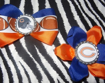 Sporty Bottlecap Set Football Chicago Bears Logo Hair Bow on Lined Alligator Clip