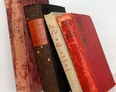 Bookshelf Collection Red Black Tan Neutral Vintage Book Bundle Bookshelf  Home Decor Shabby Chic Old Books