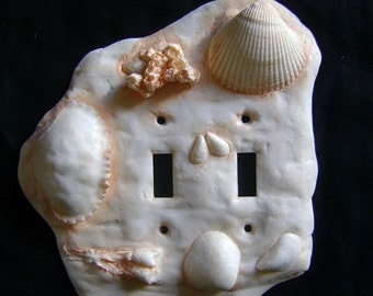Sea Shell Double Toggle Light Switch Cover. Ocean Sea Shell Beach Wall Art Sculpture Installation