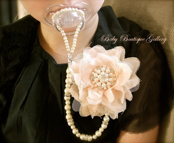 4-in-1 Beaded Pacifier Holder -Shabby Chic Blush Flower with Pearl Center