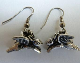Sterling Silver Flying Angel Bunny Rabbit Earrings Rabbit Memory Jewelry