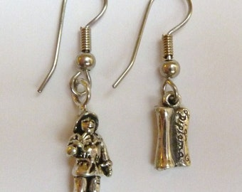 Sterling Silver Wizard of Oz Scarecrow and Diploma Earrings