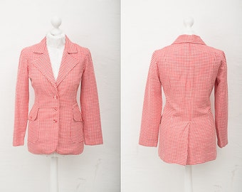 Red White Jacket / 1970s Vintage Women Red and White Checkered Jacket / Size L Large / Fitted Checkered Blazer / Large Office Jacket