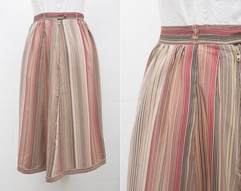 Pastel Striped Skirt / 1970s Vintage Pastel Colors Multicolor Midi High Waist Skirt by Florence / Size Small /Medium / Womens Office Fashion